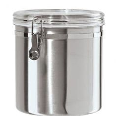 Oggi Stainless Steel Airtight Canister with Clear Arylic Lid and Locking Clamp