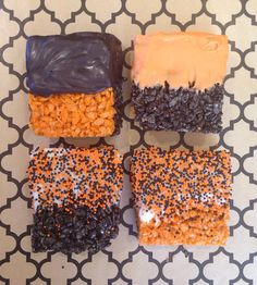 Halloween Decorated Rice Crispy Treat Squares by sweetsilverliningnyc