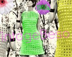 INSTANT DOWNLOAD - PdF Pattern - Vintage Dress Crochet Pattern 1960s Window Pane Charmer Sleeveless Dress Party Summer Festival Resort