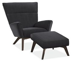 Boden Chair & Ottoman in Vorto Fabric - Modern Recliners & Lounge Chairs - Modern Living Room Furniture - Room & Board