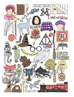 Cumpleaños Harry Potter, Harry Potter Drawings, Harry Potter Tumblr, Harry Potter Anime, Printable Stickers, Cute Stickers, Stickers Harry Potter, Imprimibles Harry Potter, Harry Potter Painting