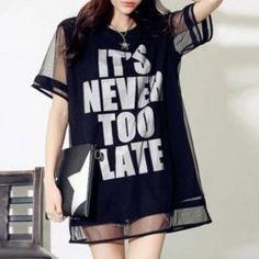 Stylish Letter Pattern Round Neck Voile Short Sleeve T-Shirt For Women - BLACK 3XL
