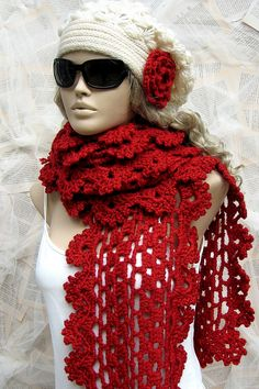 Red crochet scarf christmas gift | Flickr - Photo Sharing!