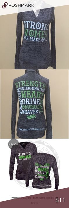 Hurt Locker brand light weight hoodie Hurt Locker brand motivating light weight hoodie for women! Size small. Excellent condition.  Would have to wear a tank under it. Sold out. Hurt Locker Tops Sweatshirts & Hoodies
