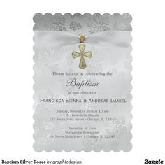 Sold #Baptism #Silver #Roses #Invitation #christening #kids Available in different products. Check more at www.zazzle.com/graphicdesign