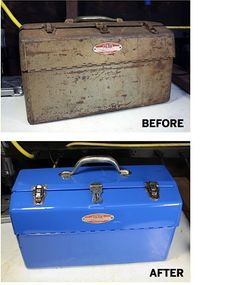 How to Refurbish a Steel Toolbox - I plan on doing this with a bunch of old tackle boxes.