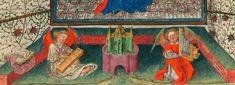 Angeli suonatori. Miniatura tratta dal 'Libro d'Ore di Catherine de Clève' (1440), Morgan Library & Museum, New York.