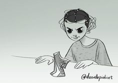 Eleven from Stranger Things by Danielle Pioli Stranger Things Theme Song, Eleven Stranger Things, Stranger Things Netflix, Indiana, Art Sites, Quick Sketch, Friends In Love, All Art, Sci Fi