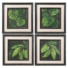 Tropical Leaf Prints, Set of 4 Drawing Frames, Leaf Drawing, Drawing Ideas, Framed Art, Framed Prints, Tropical Bathroom, Antique Farmhouse, Diy Frame, Tropical Leaves