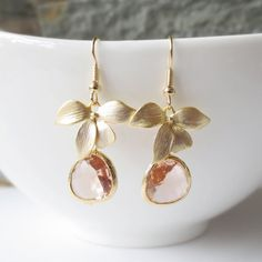 Gold Orchid and Peach Glass Earrings, Dangle Earrings, Drop Earrings, Bridesmaid Earrings,Wedding jewelry