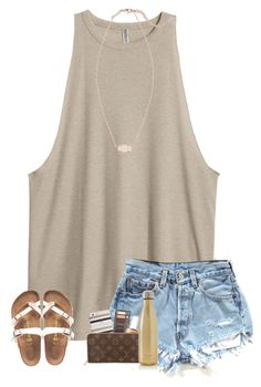 """i miss summer sm"" by kendallthackston on Polyvore featuring H&M, Kendra Scott, Birkenstock, Kate Spade, Urban Decay, Essie, Louis Vuitton and S'well"