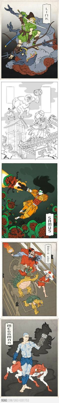 Nintendo Characters as Japanese Woodblock Prints