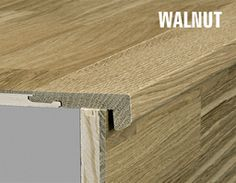 Kahrs Walnut Solid Stair Nosing For 15 Mm Woodloc, Satin Lacquered,  35x60x1200 Mm
