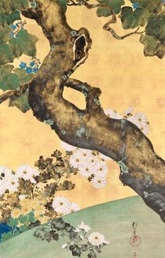 Detail. Paulownias and Chrysanthemums, late 1700s-early 1800s. 酒井抱一. Sakai Hoitsu (Japanese, 1761-1828). two-fold Japanese screen; ink and color on gilded paper. Rinpa School  Cleveland Art Museum