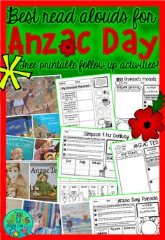 by Green Grubs Garden Club Cloze Activity, Activity Sheets, Library Activities, Art Activities, O Simpson, Anzac Soldiers, Read Aloud Books, Anzac Day