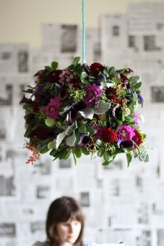 DIY flower pendant light.
