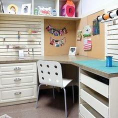 Walk in closet craft room.
