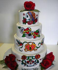 Sugar Skull Wedding Cake!! gettin-hitched