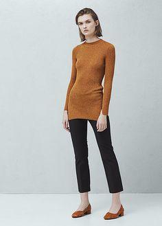 Womens tan ribbed sweater from Mango - £35.99 at ClothingByColour.com