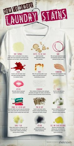 How to Remove Blood, Sweat and Other Tough Laundry Stains [Infographic] | Ugh, stains are the worst, am I right? We can carry around a bleach pen in our purses all we want, but there's only so much the little sucker can do. The good news is you can undo crazy stains with a little bit of strategy and some good old-fashioned elbow grease. The first step to total stain domination is understanding that not all stains are created equal, so each type needs a personalized treatment. via: @sheknows