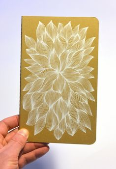 Hand drawn flower on a kraft paper notebook by AbsentMind on Etsy
