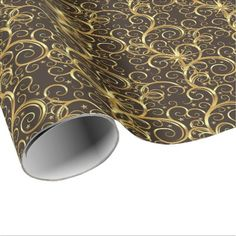Christmas Wrapping Paper-Majesty Golden Swirls Wrapping Paper - christmas wrappingpaper xmas diy holiday