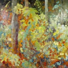 Sheila Davis at Canvas Gallery Evening Sigh, oil on panel, Contemporary Landscape, Urban Landscape, Abstract Landscape, Landscape Paintings, Modern Landscaping, Canadian Artists, Tree Art, Pattern Art, Floral Watercolor