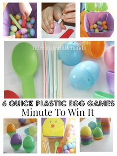 Fun Easter themed Minute To Win It Easter games for kids, families, and parties. 6 easy Easter games are fun for preschool, kindergarten, and grade school age kids and make a fun Spring activity for gross motor and fine motor ideas.
