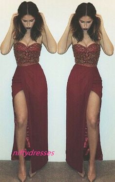 Custom Made Beaded Side Slit Prom Dresses Sweetheart Neck Sleeveless Sexy Long Evening Gowns