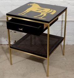 Ebonized bedside tables with brass frame and DE gold leaf images image 6
