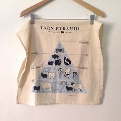 Unbleached flour sack towel in YARN PYRAMID design, NEW at Fringe Supply Co.