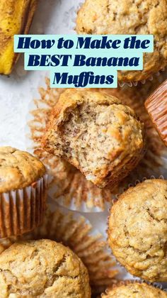Banana Muffin Recipe Easy, Healthy Banana Muffins, Simple Muffin Recipe, Healthy Muffin Recipes, Banana Recipes, Banana Breakfast Muffins, Banana Oatmeal Muffins, Snack Mix Recipes, Fun Baking Recipes