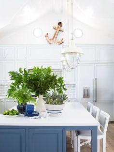 coastal living showhouse - blue & white kitchen