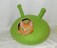 Cat Bed Cat Cave Cat  House Felted WoolFor cats and by InnaGanke, $65.00