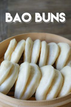 Bao means Buns so calling it bao buns doesn't make sense but it is such a cute name!Bao is steamed buns and it can be many different shapes and . Chinese Steam Bun Recipe, Steam Buns Recipe, Chinese Sweet Buns Recipe, Chinese Bread Recipe, Pork Recipes, Asian Recipes, Cooking Recipes, Cooking Courses, Cooking Bacon