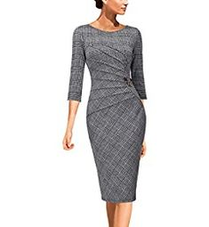 Womens Elegant Ruched Work Business Office Cocktail Sheath Dress - Outfits for Work Dress Attire, Dress Outfits, Fashion Dresses, Casual Outfits, Cute Outfits, Business Dresses, Business Attire, Business Formal, Dress Patterns