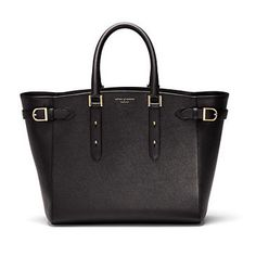 Marylebone Tote in Black Pebble & Smooth Black - Aspinal of London - Luxury English Lifestyle