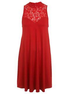 Lace Neck Trapeze Dress