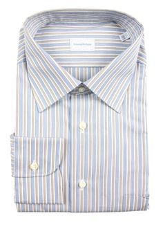 ERMENEGILDO ZEGNA Blue Brown Striped Cotton Dress Shirt  |  Find yours! http://www.frieschskys.com/all-shirts/dress-shirts  |  #frieschskys #mensfashion #fashion #mensstyle #style #moda #menswear #dapper #stylish #MadeInItaly #Italy #couture #highfashion #designer #shopping