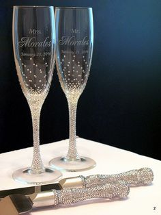 Crystal clear Rhinestones Wedding Flutes setchampagne by Adeleart