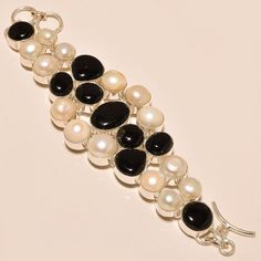 .925 Silver Amazing Black Onyx Along With River Pearl Bracelet #Handmade
