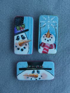 Just Fine Designs Painting Patterns by Sandy LeFlore … Painted Bricks Crafts, Brick Crafts, Painted Pavers, Wood Block Crafts, Domino Crafts, Domino Art, Tole Painting, Pottery Painting, Christmas Snowman