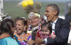 President Obama with Native Youth at Standing Rock - AP Photo/Manuel Balce Ceneta