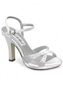 """Dyeable satin low wedge thong is very comfortable and perfect for outdoor events.   Simple and sleek, with a hint of glamour, the strap that runs across the toes is decorated with tiny crystals and beads.  Dyeable shoes are sold in White as shown. Bring your dyeable shoes to your local David's Bridal Store to have them dyed in any of our exclusive colors.  1 1/2"""" heel, leather sole. Imported.About Dyeable Shoes."""