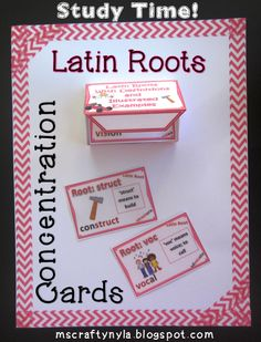 Latin Roots - Concentration Cards with classroom games  for #CommonCore $ 4th and 5th Grade