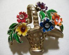 Vintage Enamel Flower Basket Brooch, Signed ST. LABRE
