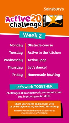 This is Week 2 of the Sainsbury's Active Kids 'Active20 Challenge'. 20 days of fun and inspirational activities to keep your kids healthy. Day 1 - Obstacle course Day 2 - Active in the kitchen Day 3 - Active yoga Day 4 - Let's dance! Day 5 - Homemade bowling Let us know how your kids get on by sharing on Instagram with #Active20 #Sainsburys