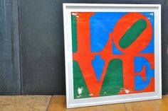 Early Robert Indiana LOVE Serigraph USA, c.1960s. Salvaged Early Robert Indiana LOVE Serigraph. Mounted as a Specimen, As-Found, Gassed, then Framed, Glass. A Mid-Century Pop Art Icon.  Image W: 30 x H: 28½ in. Frame W: 35¼ x H: 34½ in.