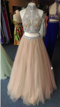 Bg37 Long Prom Dresses 2016, Hign Neck Sheer Neck Prom Dress,Sleeveless Backless Prom Dresses,Crystal Champagne Party Gowns