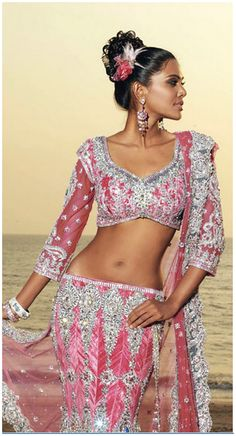 Crystal Embroidered Pink #Lehenga with Sleeve Blouse.